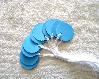 Bright  Sky  Blue - Cardstock Tags - 1 in.  Prestrung Round Scalloped Tags -Free Secondary Shipping