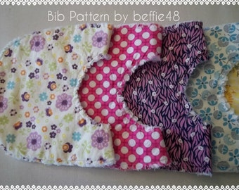 Make a Gift, Simple Baby Bib Tutorial, pdf, Ragged Style, Small Size for Infants