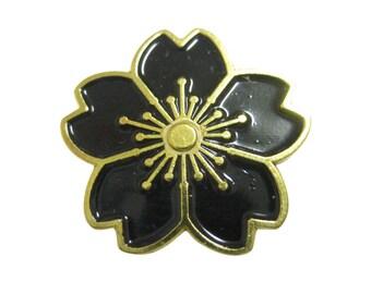 Black Cherry Blossom Flower Magnet