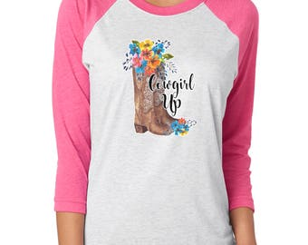 Cowgirl Up Transfer, Boots and Flowers, Ready To Press Transfers,  Heat Press Transfers