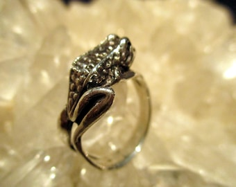 Frog Ring ~Hand Cast~ Antiqued Sterling Silver