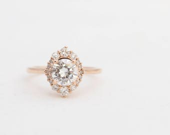 Halo Engagement Ring, Round Moissanite Halo Ring, Moissanite Ring, Moissanite Engagement Ring, Rose Gold Engagement Ring, Gold Diamond Ring