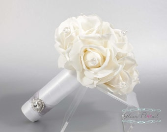 White Rose Wedding Bridal Bouquet w Czech AB Crystals. Small Bouquet. Bride, Bridesmaid, MOH. Real Touch Flowers. Caroline Rose Collection
