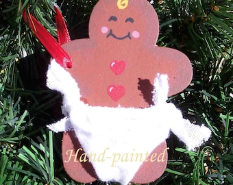 Gingerbread Baby Ornament - Baby's 1st Christmas - Personalized Hand Painted Keepsake Tree Decoration Tradition - By Distinctly Daisy