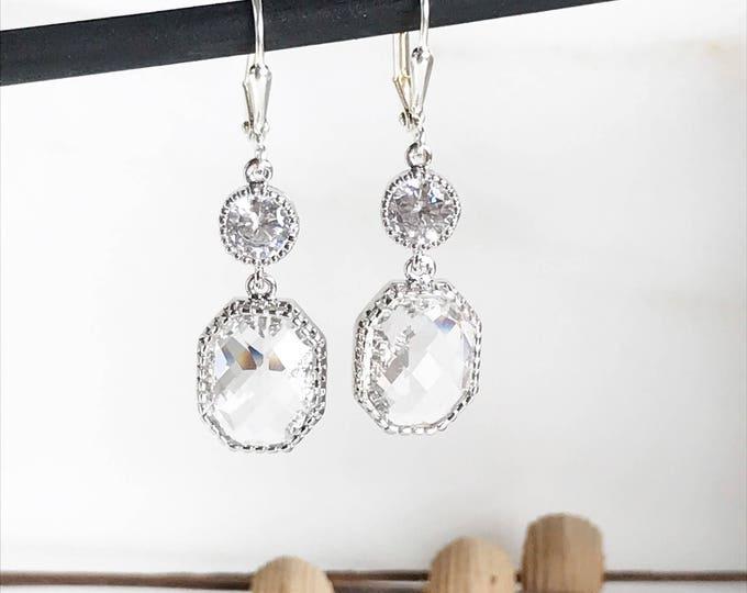 Silver Bridal Earrings with Clear Stones.  Drop Bridesmaids Earrings. Dangle Earrings.  Bridal Jewelry. Modern Earrings. Wedding. Gift.