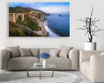 Big Sur Canvas Art, Large Ocean Wall Decor California Panorama Coastal Print Big Sur Beach Photo Bixby Bridge Pacific Ocean Oversized Print