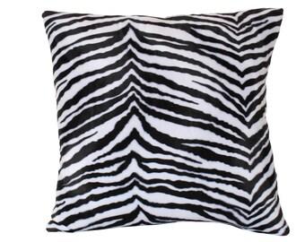 Velvet Zebra Print Pillow