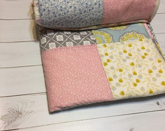 Free shipping- Ready To Ship Handmade  Baby or toddler Quilt-pink-blue-yellow-gray