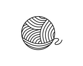 "Ball of Yarn Stamp, Sewing Stamp, Ball of Wool Stamp, Ball of Twine Stamp, Stamp for Knitters, Knitting Gift, Fun Stamp, 0.8""x1"" (minis156)"