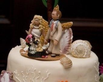 Beach Wedding Cake Topper, Custom wedding cake topper, Bride and groom cake topper, personalized cake topper, Mr and Mrs cake topper