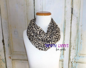 KIDS Leopard Burn Out Dk Brown and Sand Leopard Print Stretch Knit ,Cheetah, Animal Print Infinity Scarf Child's Accessories
