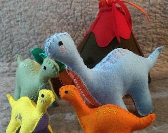 CUSTOM BRONTOSAURUS SET B wool dinosaur toys