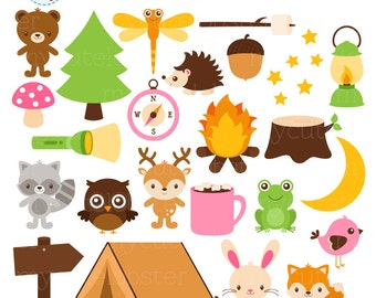 Camping Animals Clipart Set - tree, tent, forest, torch, frog, rabbit, bear, wood - personal use, small commercial use, instant download