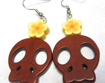 Day of the Dead Jewelry Sugar Skull Earrings Brown