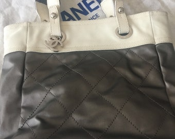 Authentic Chanel summer bag Vintage white and gray