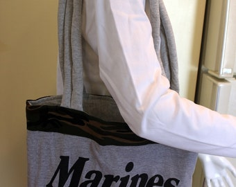 USMC Marine Corps T-Shirt Tote Bag, Handmade, Green Camouflage & Gray, Upcycled, New, Homemade, Recycled, Devil Dogs