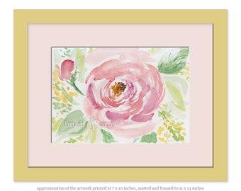 Pink peony watercolor painting, digital copy