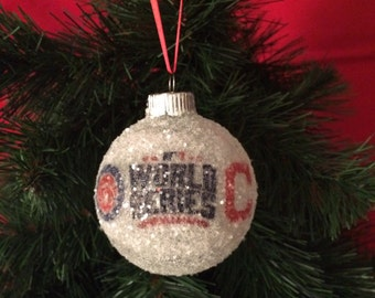 World Series 2016!! Chicago Cubs vs. Cleveland Indians glass glitter ornament
