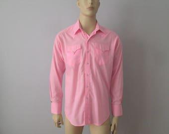 Pink Mens Pearl Snap Shirt Vintage 1970s Rockabilly Western Rockmount Ranch Wear