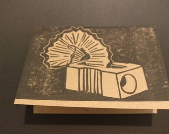 "Hand printed card: ""new beginnings""         pencil sharpener, gift, present, birthday"