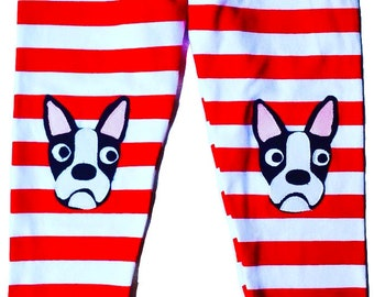 Dog Leggings. Kids Leggings. Girls Leggings. Girls Dog Leggings. Toddler Leggings. Boston Terrier. Dog Tights. Red and White Stripe Leggings