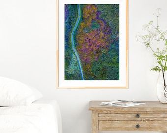 Heather Wall Art - Aerial Photography - Cornwall Photogaphy - Landscape - Nature Photography - Green Wall Art - Photography - Heather Trails