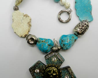 Western Necklace Western Cross Necklace Chunky Turquoise  Magnesite  Southwest Jewelry