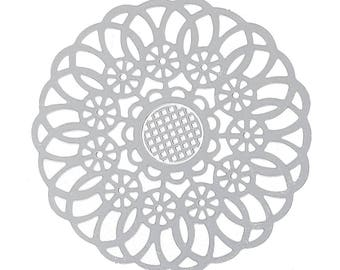 Set of 10 prints round steel 39mm SC73788 Silver Flower charm