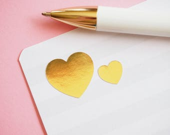 Stickers Gold Foil Heart. Planner stickers. metallic effect. Wedding. envelope seal Planning. Stationery.  scrapbooking