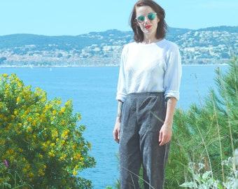 Vintage 80s pants s 90 s made grey corduroy France