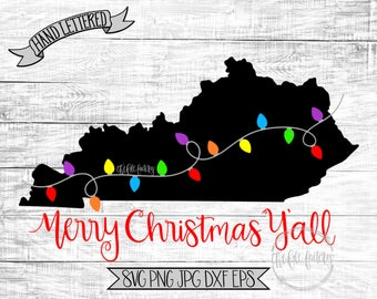 Merry Christmas Y'all Kentucky Christmas Lights SVG / Merry Christmas Y'all Cut File and Printable / Commercial Use
