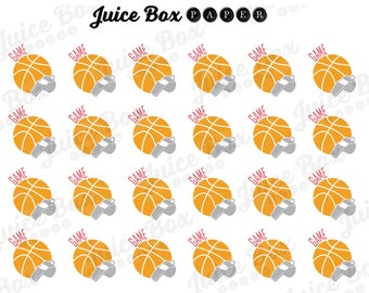 Set of 24 Basketball Game OR Practice Stickers for Various Planners, Calendars, Journals