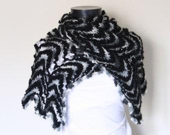 Gray Black White Shawl,Perfect for winter,