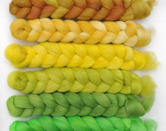 Hand dyed roving -  Silk / Merino wool 20/80% spinning fiber - 6.4 ounces - Tall Bamboo
