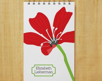 Personalized Journal Notebook - Romance Red Flower