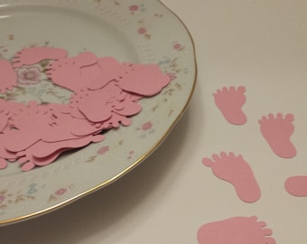 50 Pink Baby Feet Die Cuts / Baby Shower Die Cuts / Confetti / Scrapbooking Embellishments /Scrapbooking Die Cuts / ANY COLOR Available