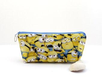 SALE - Yellow zipper bag, cartoon character zipper pouch, childrens creature pencil bag, yellow pencil pouch, fun zipper pouch