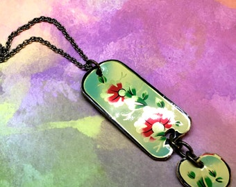 NEW: Tin Pendant, Necklace, Upcycled Tin Cookie Can, Floral, Double Pendant, Free Shipping, Handcrafted by Bumbleberry Jewelry