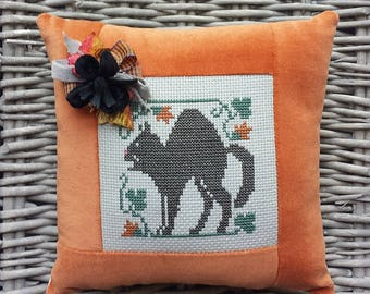Black Cat Pillow Vintage Style Handmade Orange Velvet Ticking Cross Stitch Rustic Farmhouse Folk Art Harvest Autumn Halloween Decor
