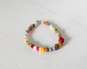"Boho Bead Anklet, Beaded Anklet, Plus Size Bracelet, Mens Boho Bracelet, Rustic Beads, Sundance Jewelry, 9 1/2"", Bohemian Jewelry, Hippie"