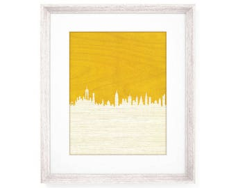 Yellow New York City Skyline Print - NYC Laser Cut Floral Wallpaper Skyscrapers - Manhattan Architecture