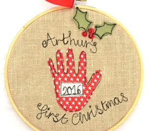 First Christmas freehand embroidered decorative hanging hoop