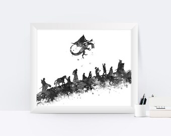 Lord of the Rings Print Black and White Watercolor Print Painting Printable Wall Art Birthday Gift Digital Download