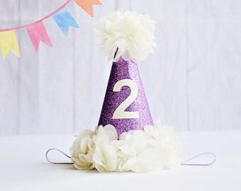 Birthday Hat, 2nd Birthday Hat, Glitter Birthday Hat, Second Birthday Hat, Birthday Hat 2, Baby Girl 2nd Birthday, Birthday Party Hat
