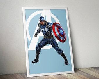 Captain America, Avengers, Digital illustration - Instant Download Digital File