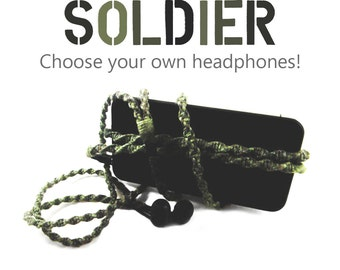 Custom Wrapped Camo Earbuds - Tangle Free Camouflage Green Headphones - Fatigue Earphones For Men - Apple iPhone 8, Android, Sony Skullcandy