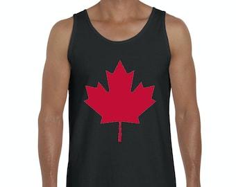Livraison gratuite ! Bleu débardeur Tees Canada Maple Leaf hommes ed176b2de3b1