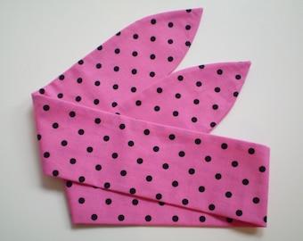 Pink and Black Polka Dot Head Scarf, Fuchsia Pink Black Dot Head Scarf, Pink Black Dot Head Scarf, 1940s 1059s Pink Head Scarf