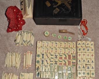 Vintage 1920's MahJong Bone & Bamboo Set Game 154 Tiles Sticks Dice