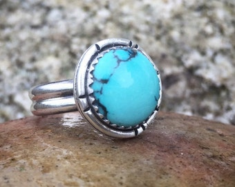 Turquoise Ring, Size 7 1/2, Sterling Silver, December Birthstone, Sagittarius, Boho, Hippie, Gypsy, Wide Band